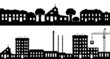 Set of silhouettes cityscapes. - 75497921