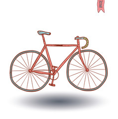Bicycle icon, hand drawn illustration.
