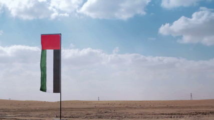 UAE flag flapping in the desert
