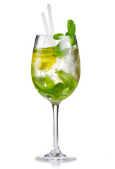 Alcohol cocktail (Hugo) with lime and mint isolated