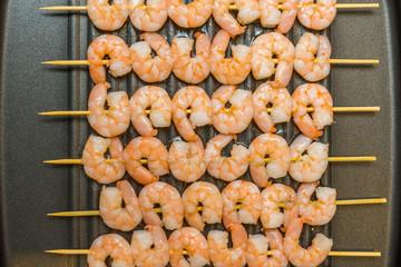 Roast prawn seafood isolate on Teflon pan