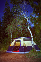 Camping tent in the forest at night
