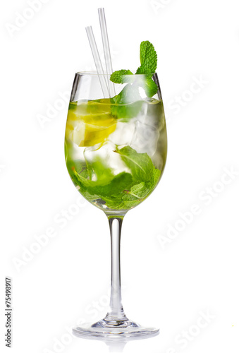 Fototapeta Alcohol cocktail (Hugo) with lime and mint isolated