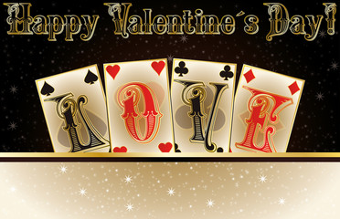 Love poker invitation cards, vector illustration