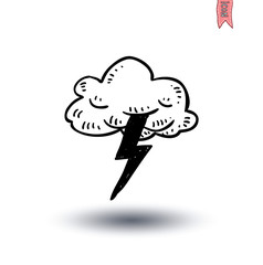 clouds and light thunder icon - vector illustration