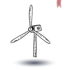 Eco green energy windmill  - vector illustration