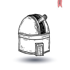 astronomical observatory dome, vector illustration.