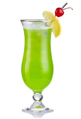 Green alcholol cocktail in hurricane isolated