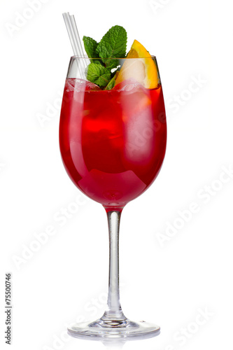 Red alcohol cocktail (Hugo) with orange and mint isolated - 75500746