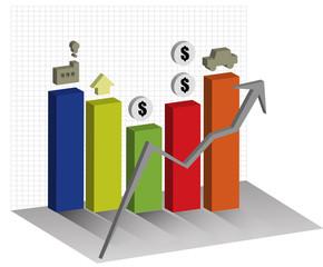 economies Graph 3d Chart up trend