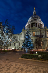 St Paul's cathedral with Christmas tree, London, UK