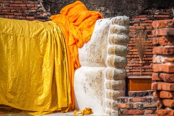 Giant reclining buddha statue feet at Wat Lokayasutharam Ayuttha