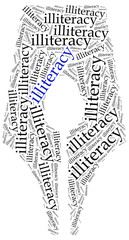 Illiteracy problem concept. Word cloud illustration.