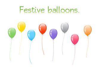 Festive balloons. Illustration of colorful festive balloons.