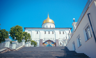 Trinity cathedral in Pochaev Lavra and the stairs to her