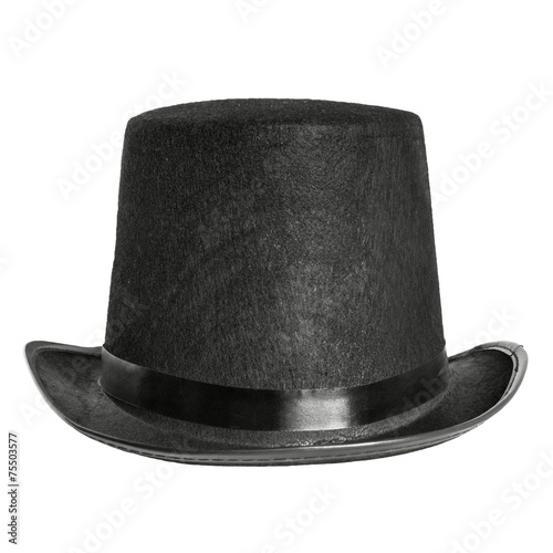 Poster black felt hat isolated on white background. front view