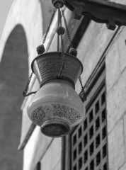 Lamp in mosque,black and white,Cairo,Egypt