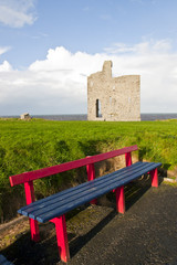 benches to view Ballybunion beach and castle