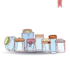 Bottle icon set, vector illustration