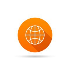 Circle icon globe on a white background