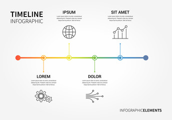 Vector timeline infographic with unfocused background and report