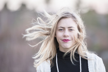 Teenage girl with wind in the hair