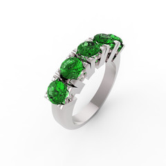 Ring with five emeralds isolated on white