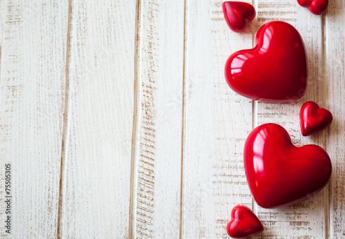 Leinwanddruck Bild Red hearts