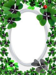 Bilderrahmen Glücksklee Oval Silber