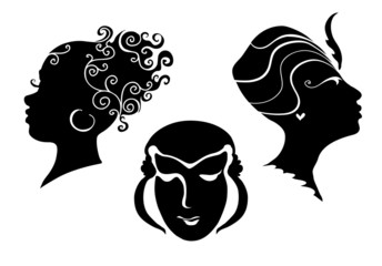 Black and white women`s heads