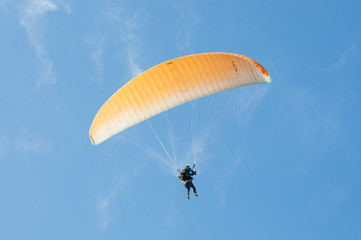 First flight with a tandem paragliding instructor