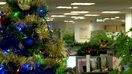 Christmas tree in a modern office.