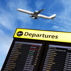 Airport flight information and airplane departing