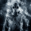 A man in a gas mask shrouded in smoke