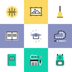 Education objects pictogram icons set