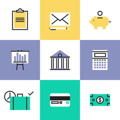 Finance and money pictogram icons set