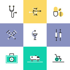 Medical and healthcare pictogram icons set