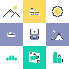 Hiking and camping pictogram icons set