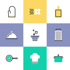 Kitchen utensils pictogram icons set