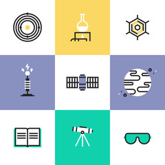 Science and astronomy pictogram icons set