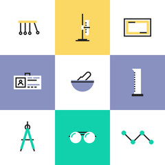 Science experiment pictogram icons set