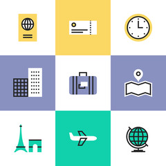 Travel and vacation pictogram icons set