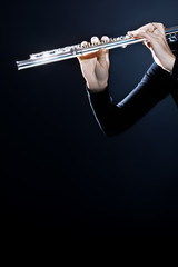 Flute music instrument hands