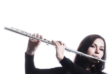 Flute music instrument isolated flutist