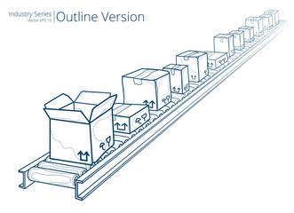 Vector illustration of conveyor belt, Outline Series.