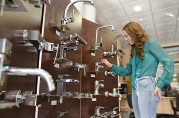 Woman at furniture and faucet store