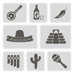 set of monochrome icons with symbols of Mexico for your design