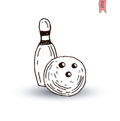 Bowling Ball icon, vector illustration.
