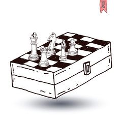 chessboard game, hand drawn vector illustration.