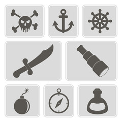 set of monochrome icons with pirate stuff for your design